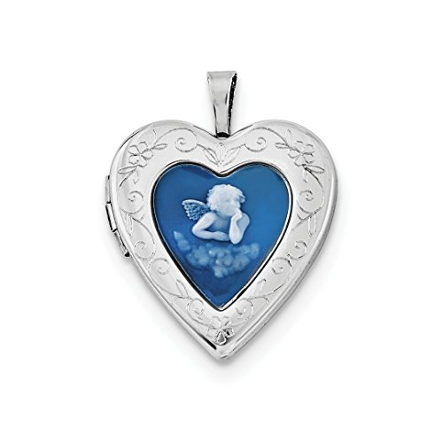 ICE CARATS 925 Sterling Silver 20mm Blue Agate Angel Cameo Photo Pendant Charm Locket Chain Necklace That Holds Pictures Fine Jewelry Ideal Gifts For Women Gift Set From Heart - Blue Agate Designer Necklace