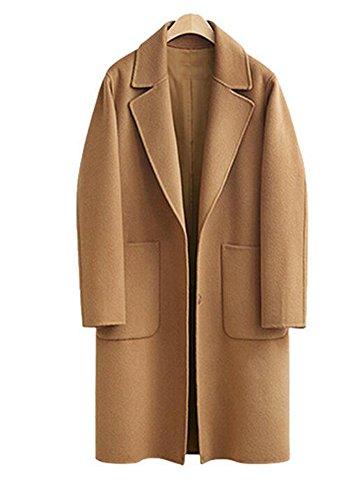Wicky LS Women's Plus Size Autumn-Winter Trench Outwear Coat Style 1 Khaki 2XL (Wool Duffle Coat Women)