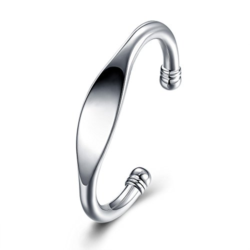 SOMUNS 925 Sterling Silver Plated Cuff Bangle Bracelet,Fashion Bracelet Jewelry Gift for Woman, Valentine