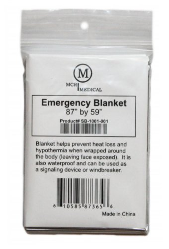 "Pack of 20 Silver Emergency Blankets, 87"" by 59"", MCR Medical Supply"
