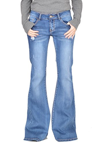 Glamour Outfitters 60s 70s Ripped Distressed Denim Flared Jeans - Blue (US14 / UK16) (Jeans Flare Wide)