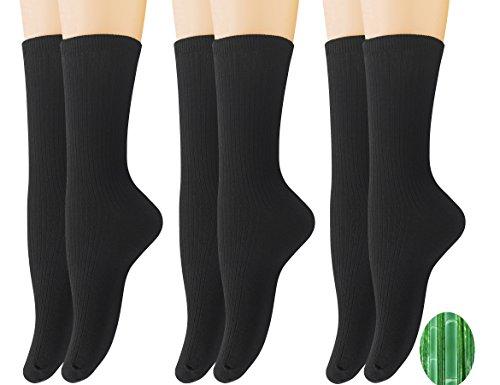 Women Bamboo - Yomandamor Women's 6 Pack Colorful Bamboo Dress Crew Socks,L Size(Sock Size:9-11)(B)