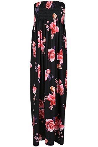 Oops Outlet Mujer Brillo Boobtube Sin Tirantes Sujetador Bandeu Rosas Flores Escote Vestido Largo - Negro Rosa Floral, Plus Size UK 16: Amazon.es: Ropa y ...