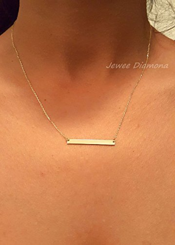 14k Solid Gold bar necklace, 3x3, Small Skinny Bar Necklace, Bar Necklace / Personalized Bar Necklace, Monogram Gold Name Bar, Engrave name by JeweeDiamond
