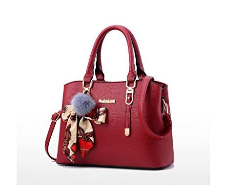 la gran solo de Negro capacidad nuevas Bolsa mujeres portátil bolso de del Claret Coreana estilo moda LEODIKA aire de Versión a6xS8qxw