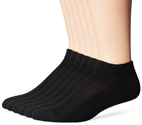 Hanes Men's FreshIQ X-Temp Comfort Cool Vent No Show Socks, Black, Sock Size: 10-13/Shoe Size:6-12 (Pack of 6) ()
