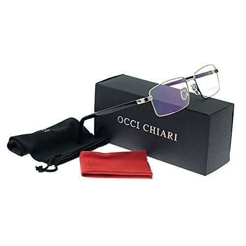 OCCI CHIARI Rectangle Full-Rim Metal Optical Frame With Clear Lens For Men(Sliver, - Metal Optical Frames