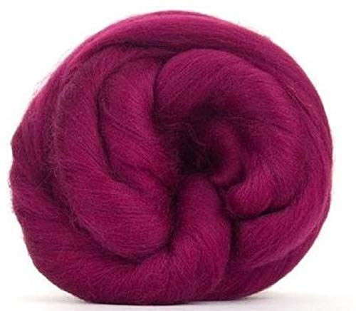 4 oz Paradise Fibers 64 Count Dyed Elderberry (Purple) Merino Top Spinning Fiber Luxuriously Soft Wool Top Roving for Spinning with Spindle or Wheel, Felting, Blending and Weaving