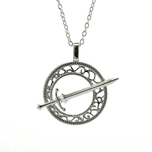 Official Otaku Dark Souls III Darkmoon Blade Pendant Chain Necklace - Silver/Metal (0.4 Oz)