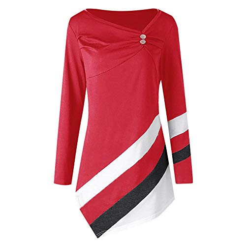 Dimanul Tops Autumn Winter Striped Asymmtrical Tunic Tops Plus Size Blouse T-Shirts Pullover Shirts Top Tunic