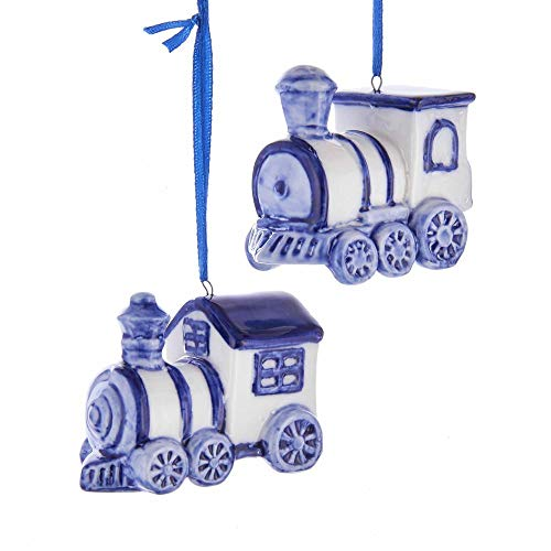 Kurt Adler Train Delft Blue and White 3 inch Porcelain Ceramic Christmas Ornaments Set of 2
