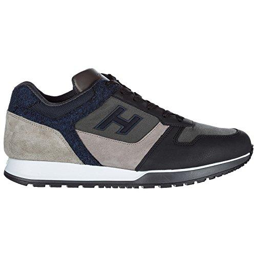 Shoes Hogan Leather Trainers Sneakers h Flock Black h321 Men's gwB5qrg