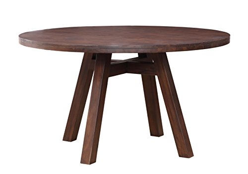 Modus Furniture Portland Solid Wood Round Dining Table, Walnut - Constructed from Acacia solid wood, an exotic lumber known for its bold contrasting wood grain and natural protective qualities Round table comfortably seats 4 but can seat up to 6 when necessary Splayed leg design with 4-way trestle base - kitchen-dining-room-furniture, kitchen-dining-room, kitchen-dining-room-tables - 41%2BHM 8t2nL -