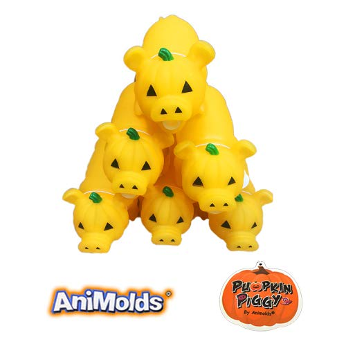 Animolds Halloween Squeeze Me Pumpkin Piggie Toy Glow in The Dark Version, Great for Halloween Decorations and Parties. Collectable Item! (6 Pack)]()