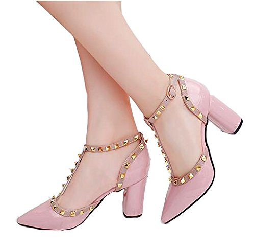 Hollow Women Pointed VIVIOO Belt Heels Heeled Buckle Pink High Heels Leather Shoes High Rivets High qCq4wBZx