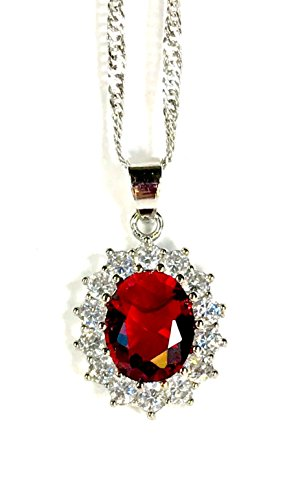 Blue sapphire Princess Diana/ Kate Middleton necklace (Red) (Diana Sapphire Necklace)