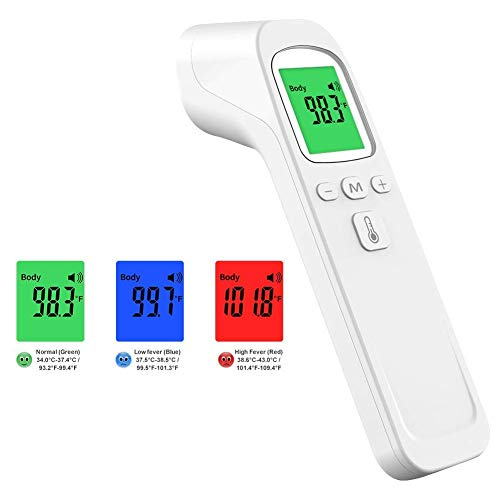 Forehead Thermometer Non-Contact Infrared Digital Thermometer, Ear Thermometer with Fever Alarm for Baby and Adults RW-FTW05