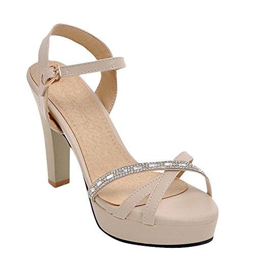 Sandali Di Sandalo Da Sposa Con Tacco Alto Con Cinturino E Fibbia In Pelle Di Carolbar Albicocca