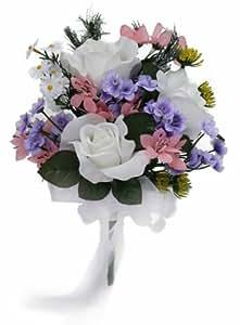 wildflower toss bouquet silk wedding bridal bouquet home kitchen. Black Bedroom Furniture Sets. Home Design Ideas