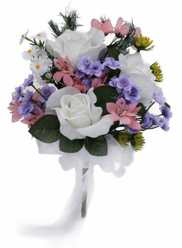 Bouquet Wedding Wildflower (Wildflower Toss Bouquet - Silk Wedding Bridal Bouquet)
