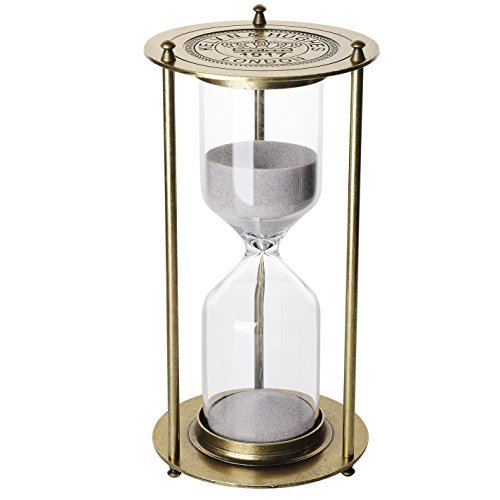 Hourglass Large (『60 Minutes 』Metal Hourglass Glass Timer Christmas Gift, KOP Sandglass Vintage Home Decor Sand Glass Timer One Hour Glass Hourglass Sand Timer For Office Study Bedroom Living Room (Antique golden))