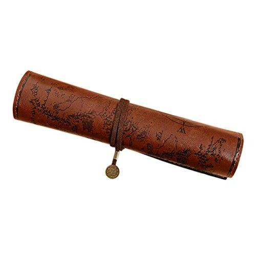 Leather Art Pendant - ANTIMAX Vintage Roll Up Pencil Case Creative Map Matte Smooth Cover Pencil Pouch Art Makeup Cosmetic Pouch with Pendant for Business School Gifts Smooth Dark Brown