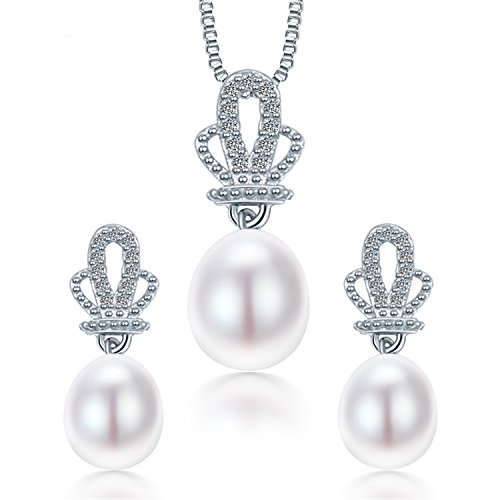 SuperLouisa Fashion Pearl Pendant Earrings 925 Sterling Silver Jewellery Sets,White Pink Purple 9-10mm Water Drop - Outlet Uk Tiffany Store