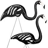 MY SUNLIGHT Halloween Skeleton Yard Flamingos Deluxe Version-Great Halloween Garden Party Decoration (2Pack)