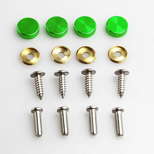 Set of 4 Anti Rust Resistant Stainless Steel Screw+Green Aluminum Screw Caps not plastic cap for License Plate frame