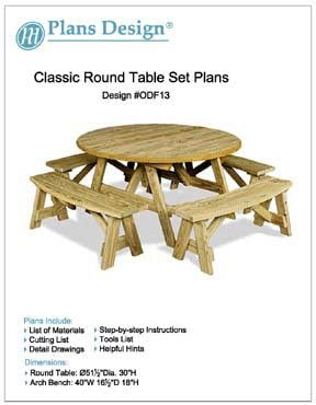Classic Round Picnic Table Set Woodworking Plans Pattern Odf13 Outdoor Furniture Project Amazon Com