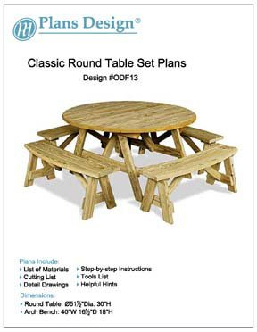 (Classic Round Picnic Table Set Woodworking Plans / Pattern, #ODF13)