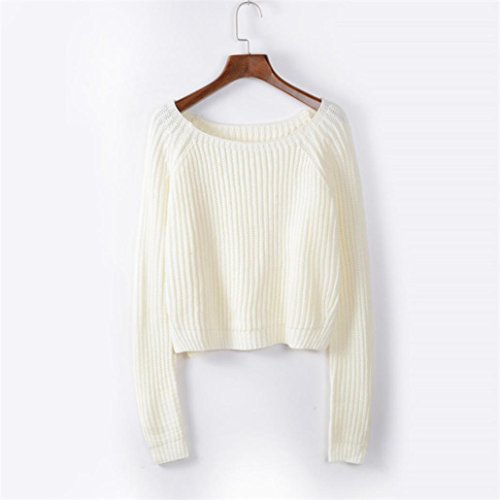 Vestido de invierno mujer sweather, RETUROM popular manga larga para mujer O collar suéter flojo arriba puente Jersey punto Outwear Blanco