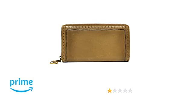 6a6e63f5984717 GUCCI Brogue Zip Around Brown Leather Wallet 295371 at Amazon Women's  Clothing store: