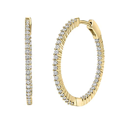 Brilliant Expressions 14K Yellow Gold 1 Cttw Colorless Lab Created Conflict Free Diamond Inside-Out Hoop Earring (E-F Color, VS2-SI1 Clarity)