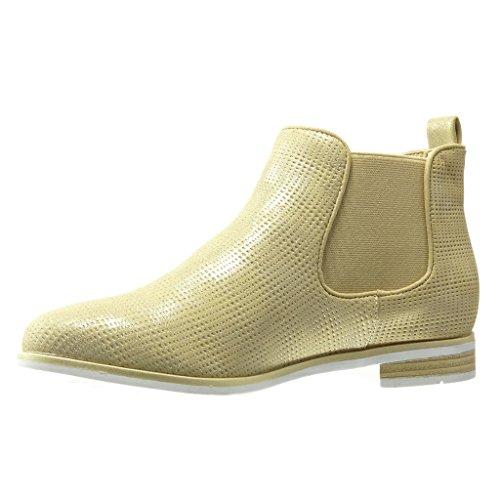 Angkorly - Scarpe da Moda Stivaletti - Scarponcini chelsea boots suola di sneaker donna intrecciato Tacco a blocco 2.5 CM - Oro