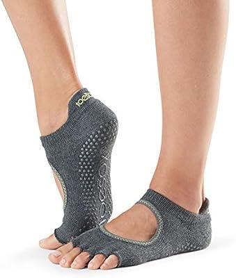 Toesox Half Toe Bellarina Calcetines de Yoga, Unisex Adulto, Gris/Verde (Lime), M: Amazon.es: Deportes y aire libre