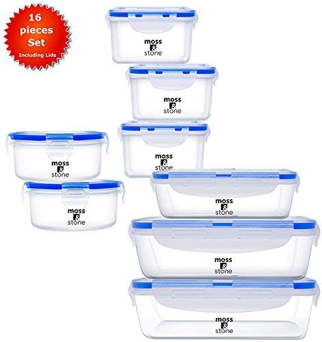Moss And Stone Airtight 16 Piece Plastic Food Storage Containers With Lids Safe Lunch Box Set For Dishwasher And Microwave -Leak Proof - BPA Free-