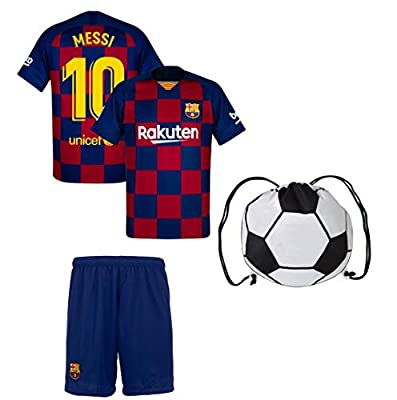 Lionel Messi Barcelona #10 Youth Soccer Jersey Home Short Sleeve or Long Sleeve Kit Shorts Kids Gift Set with Ball Bag