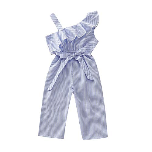 Toddler Kids Infant Baby Girls Cute Pants Bowknot Strap Stripe Romper Jumpsuit Top Outfits Clothes Set (3-4 Years, Blue 1) -