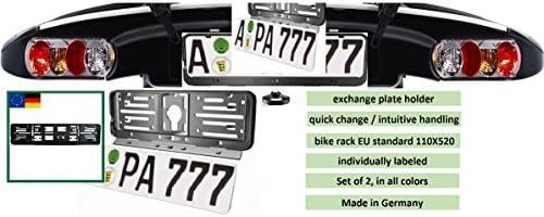 schwarz Farbe-EU-NORM-110X520-Deutschland 1 Set f/ür 1 KFZ und alle Norml/änder-W-Kennzeichenrahmen