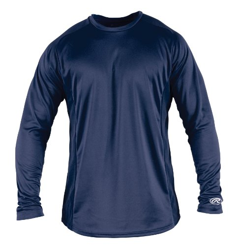 Rawlings Men's Long Sleeve Baselayer Shirt, Navy, Large