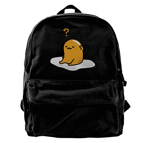 Lazy Egg Gudetama Canvas Shoulder Backpack Backpack For Men & Women Teens College Travel Daypack Black