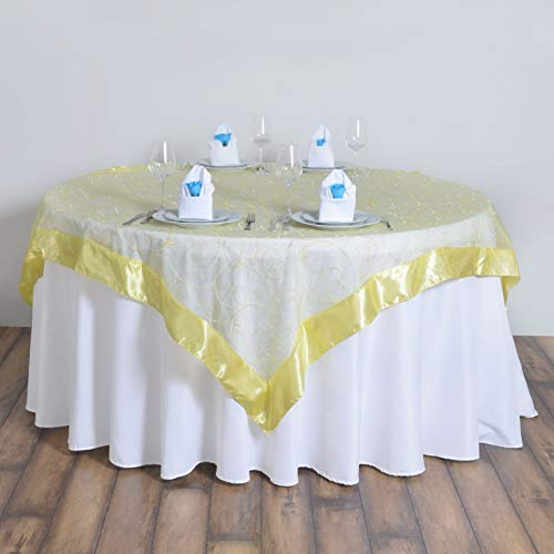 Mikash 72x72 Embroidered Sheer Organza Table Overlay Unique Wedding Party Decorations | Model WDDNGDCRTN - 15535 |