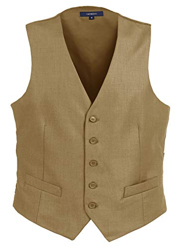 Gioberti Mens Formal Suit Vest, Khaki, Large