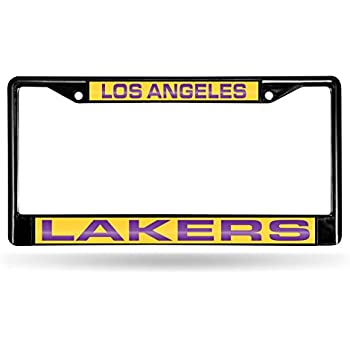 Amazon.com: Los Angeles LA Lakers Black Metal (2) Laser License ...