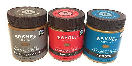 Barney Butter Almond Butter Flavor Bundle of Three 10 Oz Jars: Smooth Almond Butter, Bare Almond Butter Crunchy, Almond Butter Smooth, Almond Butter (Butter 10 Oz Jar)