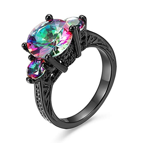 Bamos Jewelry New Mysterious Rainbow Topaz Ring14KT Black Gold Wedding Rings10