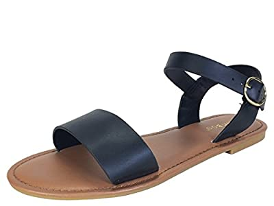 BAMBOO Women's Single Band Flat Sandal with Quarter Strap