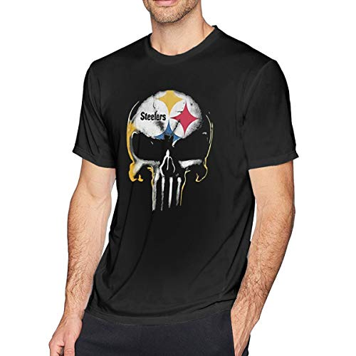 WEFGWR Skull Pittsburgh Steelers Mens O-Neck T-Shirt Funny Cool Short Sleeve Tee ()