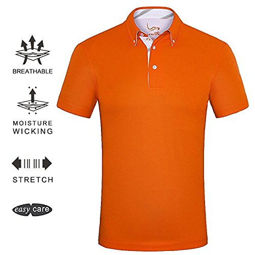 Performance Mens Golf Polo (EAGEGOF Men's Shirts Orange Short Sleeve Tech Performance Golf Polo Shirt Loose Fit Large)